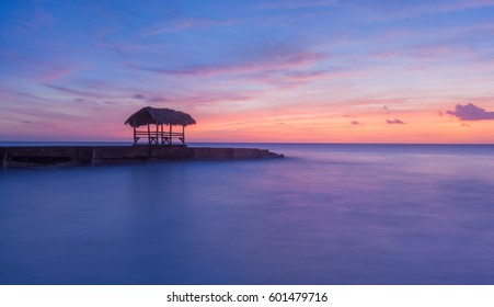 Sunset at Pigeon Point, Tobago, Trinidad and Tobago, Caibbean, West Indies, small beach in Trinidad and Tobago,beautiful sunset