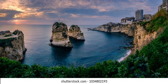 sunset at the Pigeon Rocks in Beirut, Lebanon