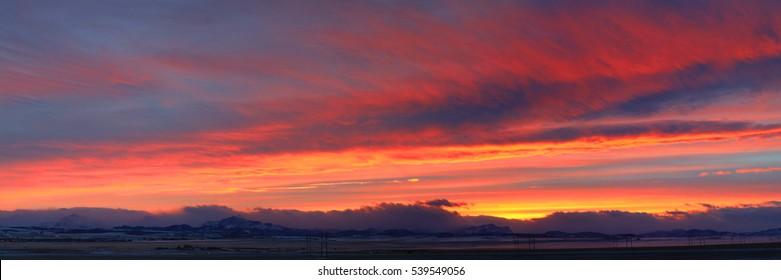 Sunset at Pincher Creek, Alberta, Canada