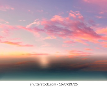 sunset pink and  blue sky clouds at sea  water reflection  beautiful landscape background   summer  nature