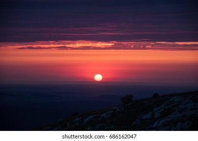 Sunset in pink tones in the mountains of Crimea
