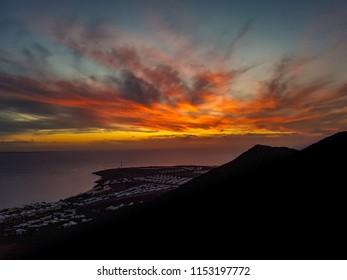 Sunset Playa Blanca coast Lanzarote Spain