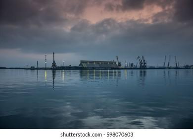 Sunset in port Burgas