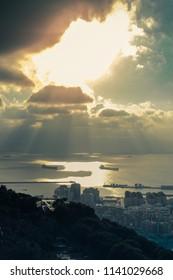 Sunset in the port of Gibraltar