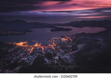 Sunset at Port Hills, Christchurch, New Zealand