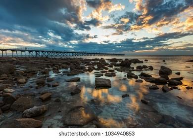 Sunset at the Port Hughes Jetty on Yorke Peninsula in South Australia Australia on 22nd February 2018