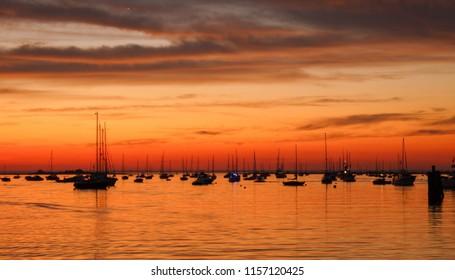 sunset at Port Jefferson