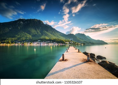 Sunset at Port Valais town with Swiss Alps near Montreux, Switzerland, Europe.