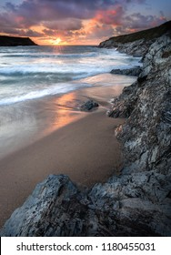 Sunset, Porth Joke  Beach, West Pentire, Cornwall