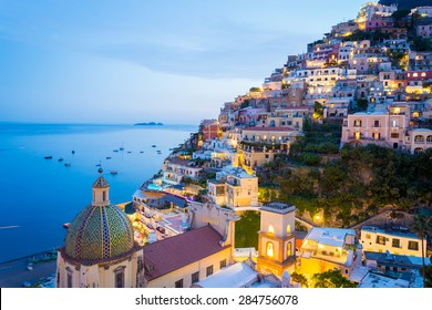 Sunset in Positano, Amalfi Coast, Salerno - Naples, Italy