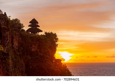 Sunset at Pura Luhur Uluwatu. Bali island, Indonesia.
