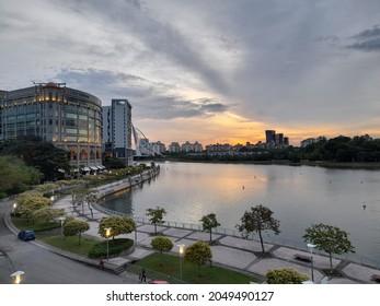 Sunset and putrajaya lake view taken from Putra Bridge, Putrajaya.