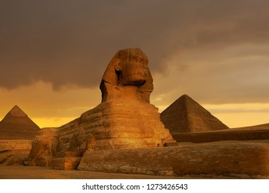 Sunset at the the Pyramid complex at Giza, Egypt.