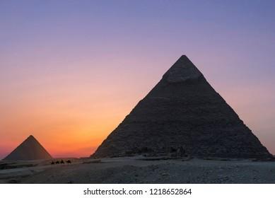 Sunset at the Pyramids, Giza, Cairo, Egypt.jpg