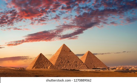 Sunset at the Pyramids, Giza, Cairo, Egypt.