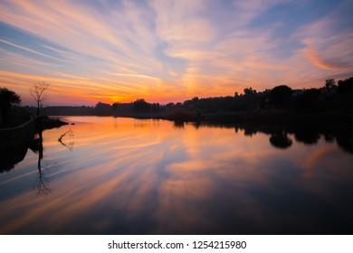 Sunset at Qibla bandi Dam Hazro Pakistan