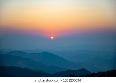 Sunset sunset at Qilin Mountain, Fengkai County