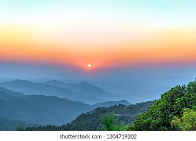 Sunset in Qilin Mountain, Fengkai County