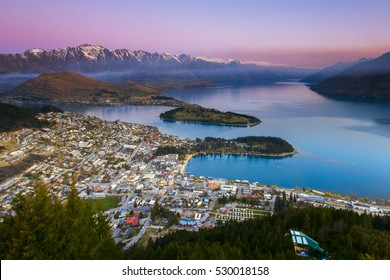 Sunset at Queenstown, New Zealand. Sits on the shores of the South Islands Lake Wakatipu.
