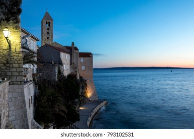 sunset in rab town on the island rab, croatia