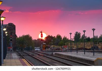 Sunset at railway station of Merida in summer. Extremadura Spain