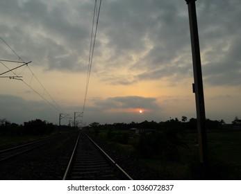 sunset in railway track