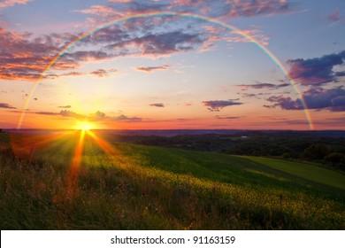 Sunset with Rainbow