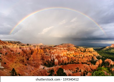 sunset rainbow over bryce canyon