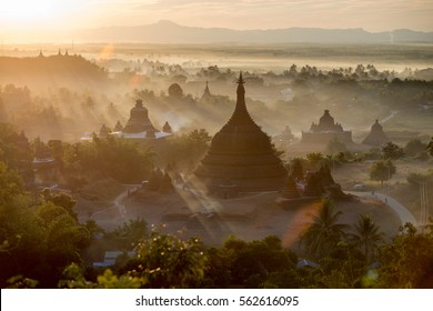 Sunset at Ratanabon Paya in Mrauk-U, Myanmar. This place is popular national landmark.