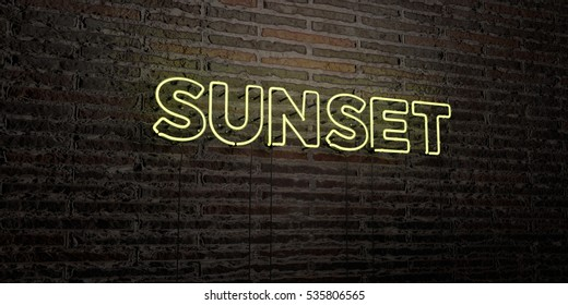 SUNSET -Realistic Neon Sign on Brick Wall background - 3D rendered royalty free stock image. Can be used for online banner ads and direct mailers.