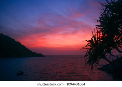 Sunset and red blue sky at the sea and beach