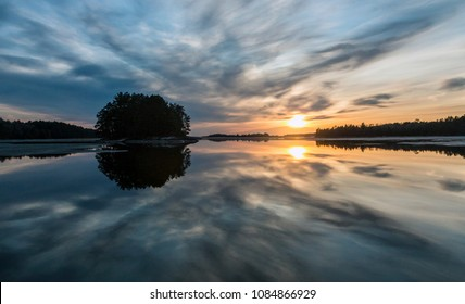 Sunset reflected off the water near Ash River Visitor Center in Voyageurs National Park in northern Minnesota