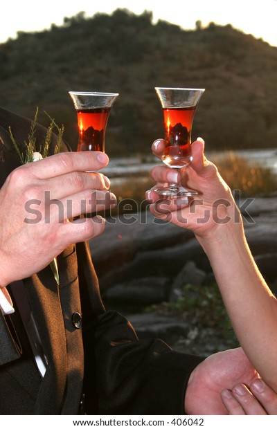 Sunset reflected in sherry glasses