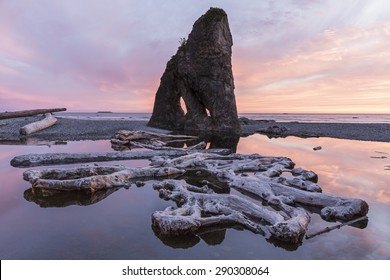 Sunset reflected in a slow moving stream, with sea stacks and driftwood, at Ruby Beach in Olympic National Park, Washington.