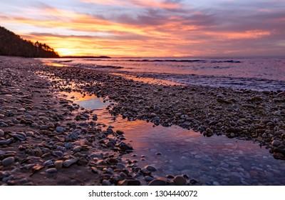 Sunset reflection along Lake Michigan