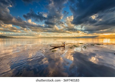 Sunset Reflection at Inle Lake, Myanmar