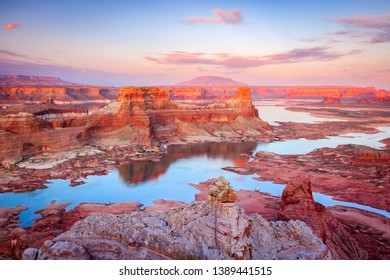 Sunset reflection at Lake Powell, Utah, USA.