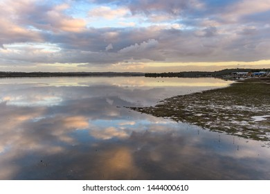 Sunset and Reflections on the River - Waterscape of Tilligerry Creek at Mallabulla, Port Stephens. NSW, Australia