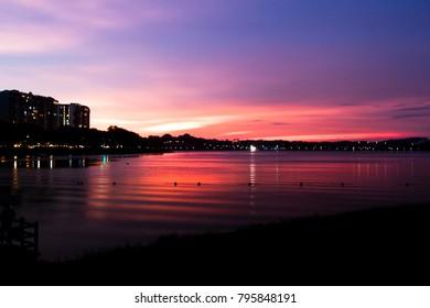 sunset at reservoir