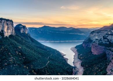 Sunset at the Reservoir of Sau (Catalonia, Spain, Osona province)