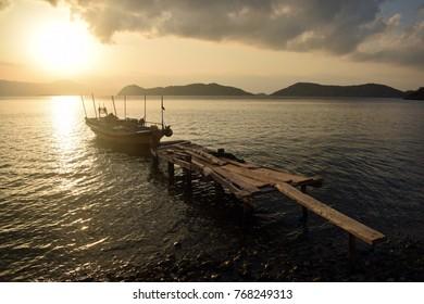 Sunset in the resort village of Sogut, Bozburun Peninsula, Marmaris, Mugla, Turkey