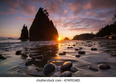 Sunset at Rialto Beach in Olympic National park,Washington,USA.