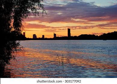 Sunset in Riga over the river Daugava, Latvia