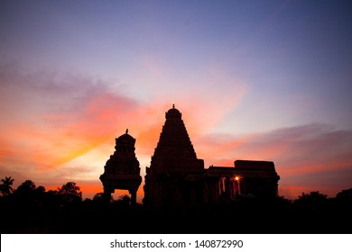 Sunset and rihadeeswarar Temple in Thanjavur, Tamil Nadu, India. One of the world heritage sites.