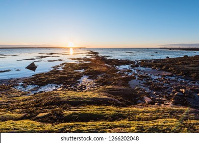 Sunset in Rimouski, Quebec with view on Saint Lawrence river in Gaspesie, Canada with rocks at rocky beach, shallow blue water and sun reflection