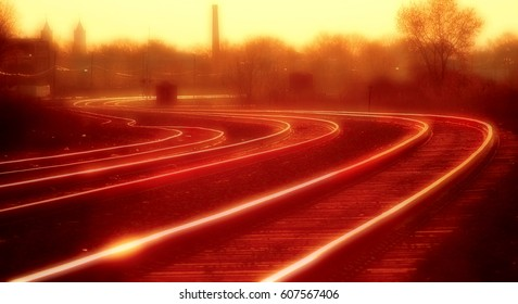 Sunset or rise over Detroit area tracks