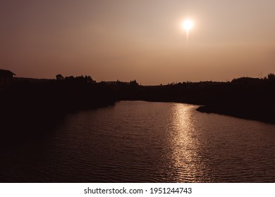 Sunset at a river bed.