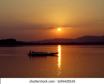 Sunset at river Brahmaputra, Guwahati, Assam, India