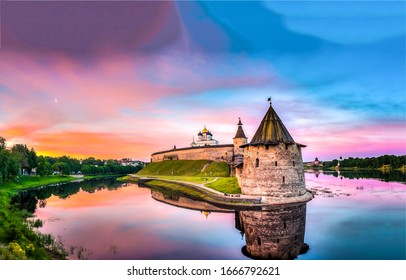 Sunset river fortress tower landscape. River fortress sunset view. Fortress sunset river landscape. Sunset fortress on river