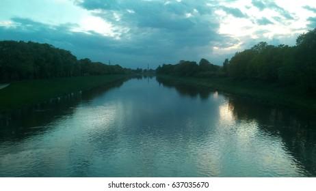 sunset river landscape